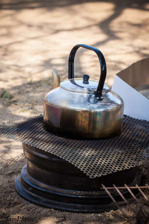 Camping kettle Stock Photo