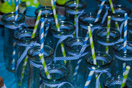 Glass Bottles with Drinking straws