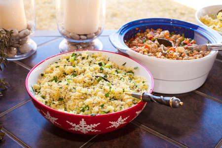 Hot Couscous salad and bean salad display