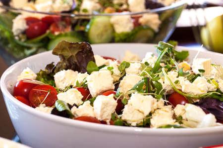 Fresh Greek Salad in a bowl salad display