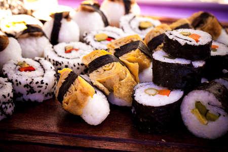 Sushi Display food Stock Photo