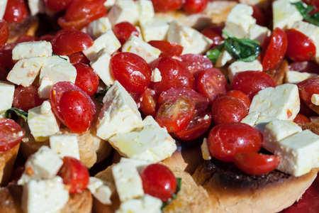 Tomatoes and Feta Cheese on Toast