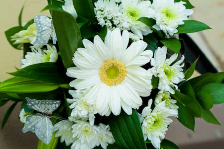 White Gerbera Daisy table bouquet