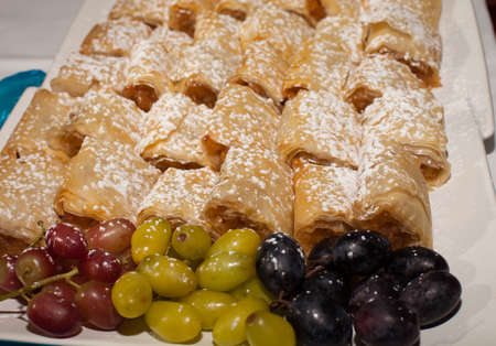 Pastry deserts with grapes