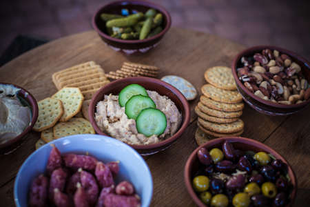 food on wooden table display