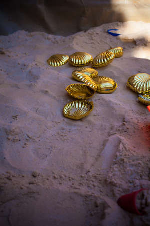 Golden clam shell Stock Photo