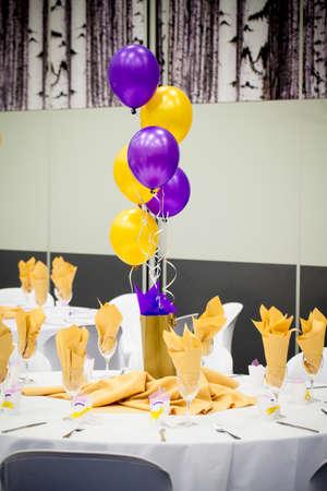 Table decor gold purple display
