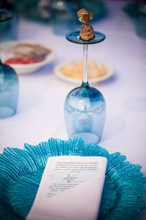 Table display with wineglass and crocorey