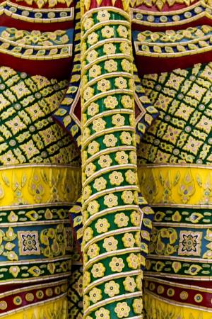thaiart: Giant Mace Pattern Green at Suvarnabhumi Airport Thailand Stock Photo