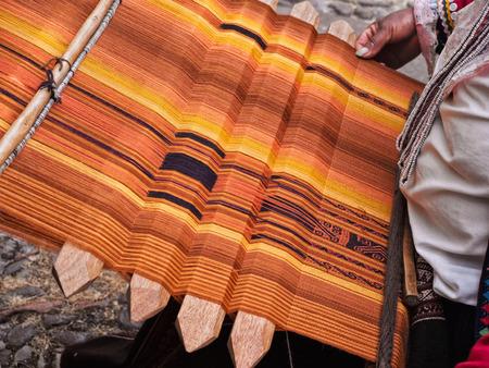 cusco province: Making handmade textile in Cusco, Peru Stock Photo