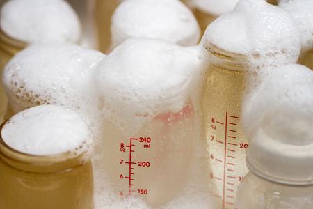 cc: bottle of milk preparing for washing