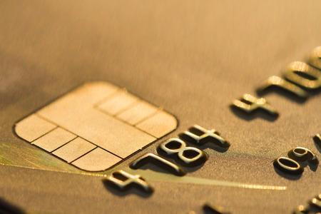 Carte de crédit à puce EMV macro Banque d'images - 37424981