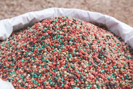 colorful fertilizer in fertilizer bag.