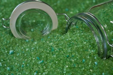 close up magnesium fertilizer in glass bottles . Stock Photo