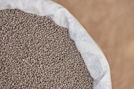 18-46-0 , Diammonium phosphate (DAP) fertilizers in fertilizer bag. Reklamní fotografie