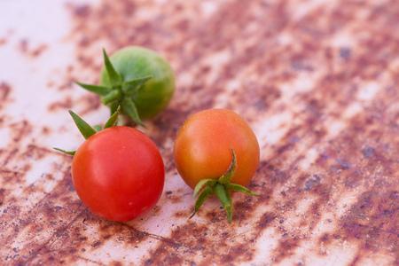 a group of tomato on  iron  floor background. 版權商用圖片