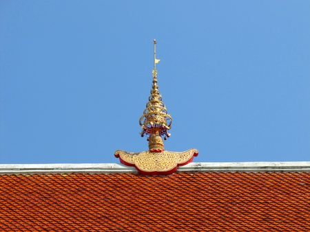 apex: Gable apex on the temple roof at Wat Phra Sing, Chiang Mai, Thailand.