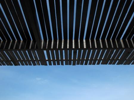 Roof batten under the blue sky