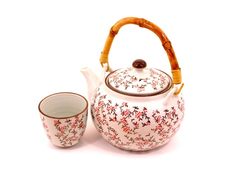 Japanese tea pot and cup on white backgroud Stock Photo
