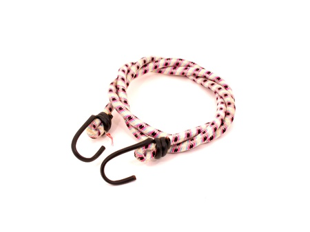 Bungee cord with hooks on white background