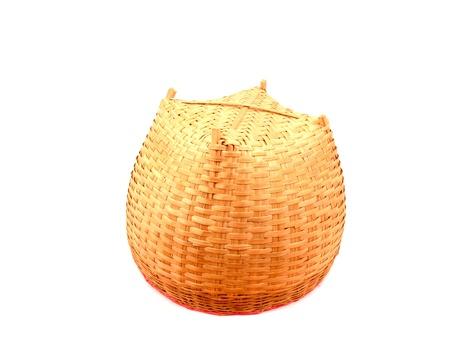 Under Thai bamboo basket on white background    Stock Photo
