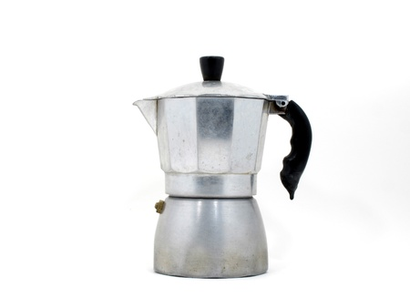 An Italian coffee maker (moka pot) on white background photo