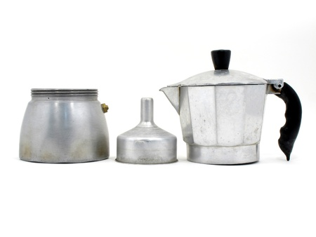with coffee maker: Component of an Italian coffee maker on white background