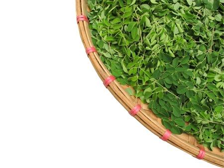 Horse radish leaf in the wicker basket