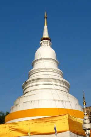 White pagoda with blue sky in Chiang Mai, Thailand Stock Photo - 12379525