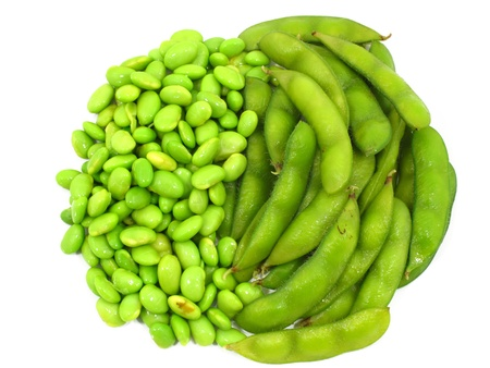 soya bean plant: Edamame soy beans shelled and pods on white background