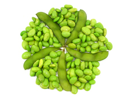 Edamame soy beans shelled and pods on white background Stock Photo - 12379522