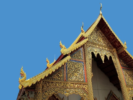 Gable roof of the temple in Thailand with clipping path  Stock Photo