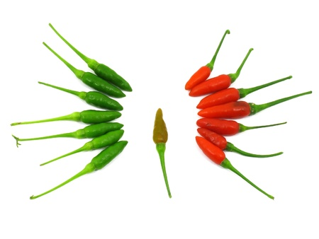 Red and green chilli peppers in two sides with one in the circle Stock Photo - 12379517