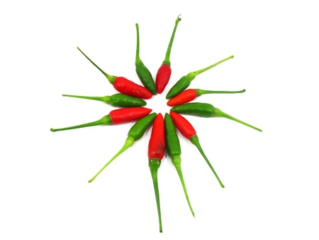 Red and green chilli peppers alternate in circle Stock Photo - 12379516
