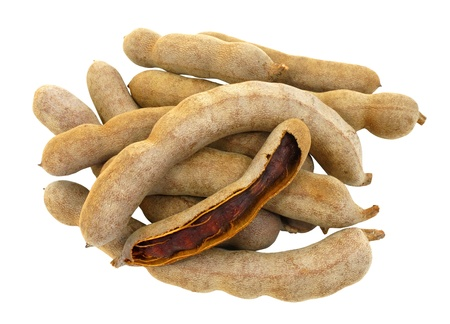 Sweet tamarind on white background with clipping path