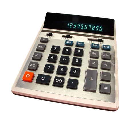 Old calculator with green digits  Stock Photo