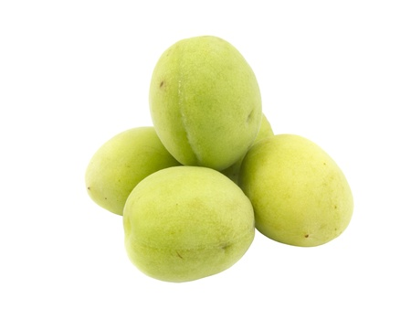 Group of fresh green plum on white background Stock Photo - 13778973