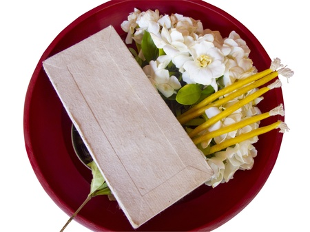 Component for Thai northern respect teacher ceremony in red tray isolated Stock Photo