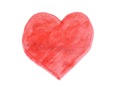 Red heart paint by water color on white paper