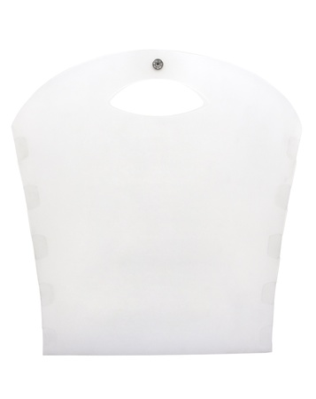 Polypropylene  PP  plastic bag on white background with clipping path photo