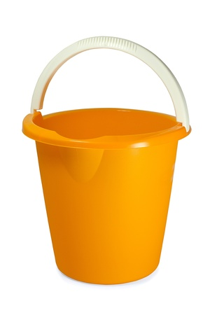 Yellow empty plastic bucket on white background