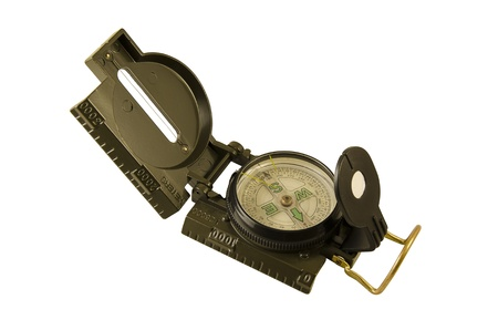 surplus: Green Military compass isolated on white background Stock Photo
