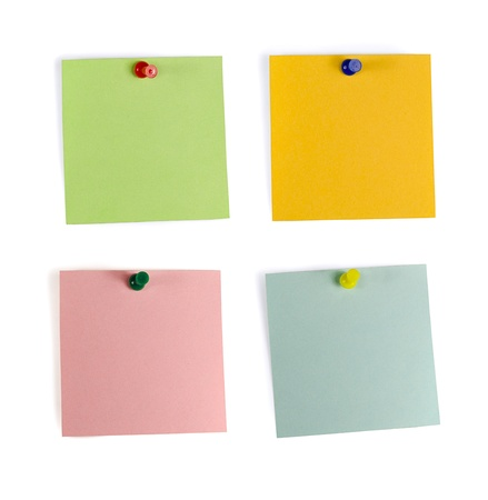 Set of four note paper with pins, isolated on white Stock Photo