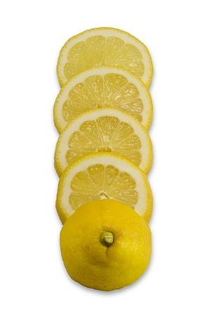 lemony: Sliced juicy lemon isolated on white background