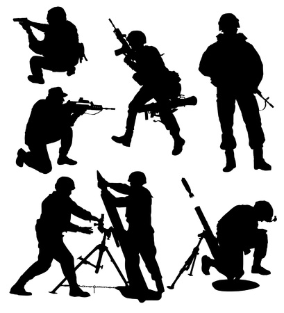 military silhouettes: Armed Soldier Silhouette Collection vector