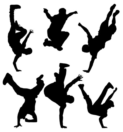 breakdance: Break Dancers Silhouette on white background