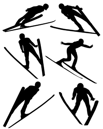 ski jump: Ski Jumping Silhouette on white background  Illustration