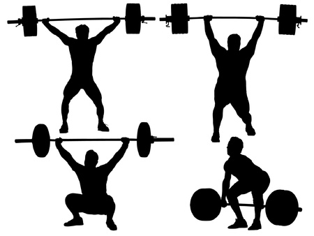 масса: Тяжелая атлетика силуэт на белом фоне Иллюстрация