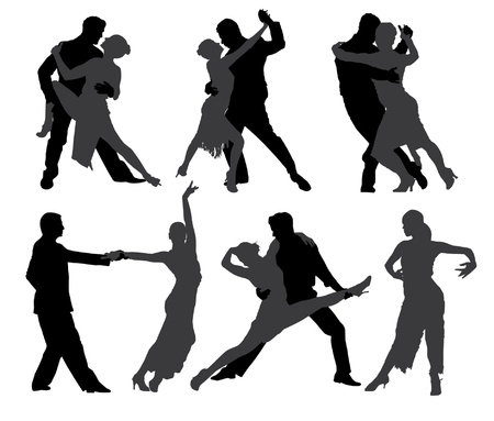 bailarines de salsa: Bailarines de tango Silueta sobre fondo blanco
