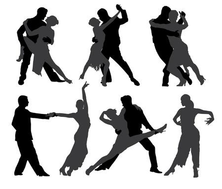 bailarines de salsa: Tango bailarines silueta sobre fondo blanco Vectores